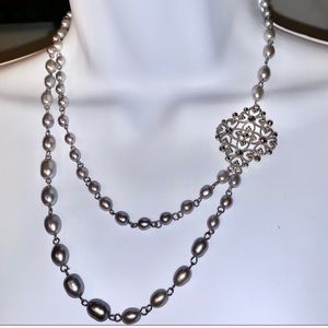 Gray Pearls & Marcasite Enhancer Necklace